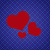Abstract checkered blue pattern with red love heart Stock Photography