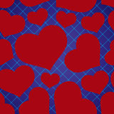 Abstract checkered blue seamless pattern with red love heart Stock Photo