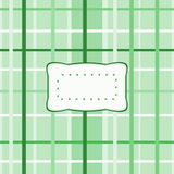 Abstract checkered pattern with decorative etiquette. Abstract green checkered pattern with decorative etiquette Stock Images