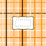 Abstract checkered pattern with decorative etiquette Stock Photos