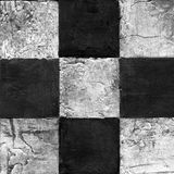 Abstract checkered pattern painted with acrylic or oil paints on canvas in black and white colors Royalty Free Stock Image