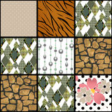 Abstract checkered plaid textile patchwork pattern background Royalty Free Stock Images