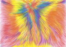 Abstract cheerful rainbow painting, phoenix, riot of flowers, rainbow, fantastic colors. Abstract hand painted nrainbow painting, phoenix, riot of flowers royalty free illustration