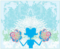 Abstract cheerleader girl Stock Image