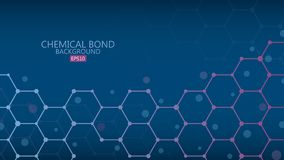 Abstract chemical bond background, science concept, vector illus. Tration Stock Photos