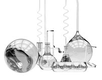 Abstract chemical glassware. (isolated on white Stock Photo