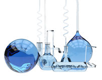 Abstract chemical glassware. (isolated on white Royalty Free Stock Images