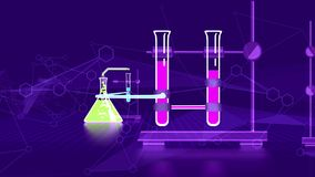 Abstract Chemical Laboratory Flasks. Enigmatic 3d illustration of an abstract chemical laboratory with such glass and metal tools as three flasks with liquids Stock Photography