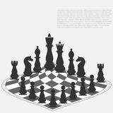 Abstract chess board and chess pieces. Vector. Illustration vector illustration