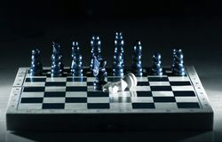 Abstract chess composition on the game Board.the concept of defeat.  stock photography