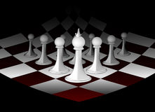 Abstract chessboard. With white figures Royalty Free Stock Images