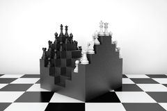 Abstract Chessboard and Set of Chess Pieces Royalty Free Stock Photo