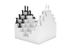 Abstract Chessboard and Set of Chess Pieces. On a white background royalty free illustration