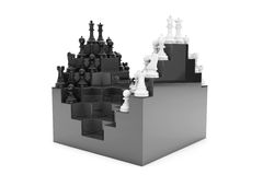 Abstract Chessboard and Set of Chess Pieces. A white background royalty free illustration