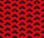 Abstract chevron rood en zwart patroon met kleine mensensilhouetten in sommige plaatsen vector illustratie