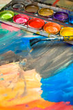Abstract Child Art and watercolor palette Stock Photography