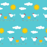 Abstract childish geometric seamless pattern background. Happy funny farm theme. Handmade angular applique elements on stylish cover. Chicken, sun and clouds royalty free illustration