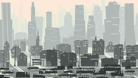 Abstract childish illustration of big city with cars. Stock Photos
