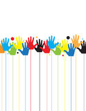Abstract children hands in colorful paint Royalty Free Stock Image