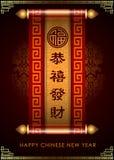 Abstract Chinees nieuw jaar De betekenis is Gelukkig en Gelukkig Royalty-vrije Stock Afbeelding