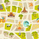 Abstract chinese map seamless vector background Stock Photo