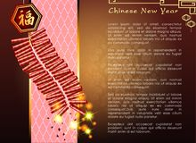 Abstract chinese new year with The Firecrackers and Traditional Chinese Wording . The meaning are Lucky and Happy. Vector and Illustration, EPS 10 Stock Photos