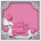 Abstract chinese pattern square frame with floral pink background and lotus flowers. Abstract chinese square frame with floral pink background, lotus flowers stock illustration