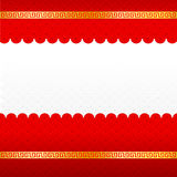 Abstract chinese red background and gold border blank template Royalty Free Stock Images