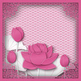 Abstract chinese square frame with floral pink background, lotus flowers. Oriental pattern and space for title text. Vector illustration, paper cut out art vector illustration
