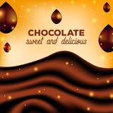 Abstract Chocolate Background with Drops, Brown Silk, Vector Illustration Stock Photos