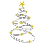 Abstract christmas. Tree made of silver rings connected with golden beads Royalty Free Stock Image