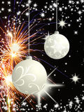 Abstract christmas background. Christmas background with silver christmas ball and fireworks Royalty Free Stock Image