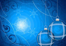 Abstract Christmas background. Baubles and snowflakes on abstract blue Christmas background Royalty Free Stock Photo