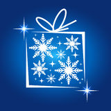 Abstract christmas background. Blue color Christmas box -  illustration Stock Image