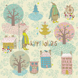 Abstract christmas background. An abstract winter design in a sweet  old-fashioned style Stock Photo