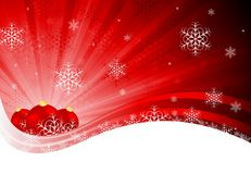 Abstract Christmas background. Bright red X-mas design with tree balls and snowflakes. Eps 10 Royalty Free Illustration