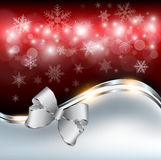 Abstract christmas background. With snowflakes and a bow, vector Stock Photography