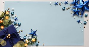 Abstract Christmas Background. Christmas Frame Concept for Celebration with Blue Copy Space Royalty Free Stock Photography