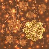 Abstract Christmas background. With gold snowflakes and shiny lights. Can be used as backdrop for new year card design, wallpaper or banner Royalty Free Stock Image