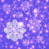 Abstract Christmas background. With snowflakes and shiny lights. Can be used as backdrop for new year card design, wallpaper or banner Royalty Free Stock Image
