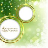 Abstract Christmas background with balls. Christmas abstract background with Golden frame for text Stock Photography