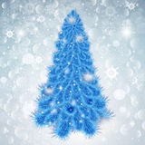 Abstract Christmas background with blue tree in Royalty Free Stock Photo