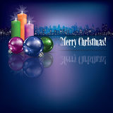 Abstract Christmas background with candles. And silhouette of city Royalty Free Stock Images