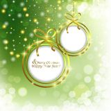 Abstract Christmas background with Christmas balls. Christmas abstract background with Golden frame for text Royalty Free Stock Image