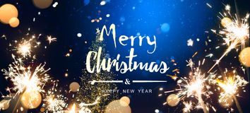 Abstract Christmas Background with Christmas tree light and holidays magic flare royalty free stock photo