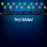 Abstract Christmas background with decoration. Abstract background with Christmas lights and silhouette of city Stock Photos