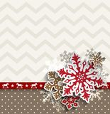 Abstract christmas background with decorative snowflakes and chevron pattern, illustration stock illustration