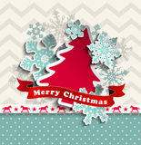Abstract christmas background with decorative tree Stock Images