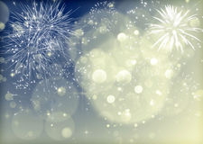 Abstract Christmas background with fireworks Stock Images