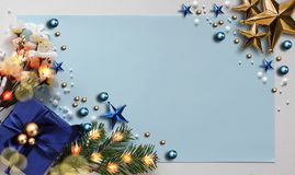 Abstract Christmas Background. Christmas Frame Concept for Celebration with Blue Copy Space Stock Image